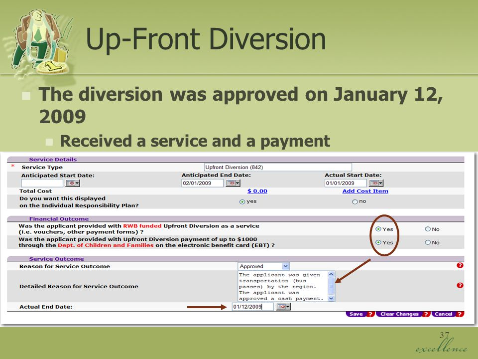 37 Up-Front Diversion The diversion was approved on January 12, 2009 Received a service and a payment