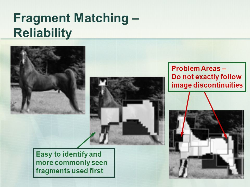 Fragment Matching – Reliability Easy to identify and more commonly seen fragments used first Problem Areas – Do not exactly follow image discontinuiti