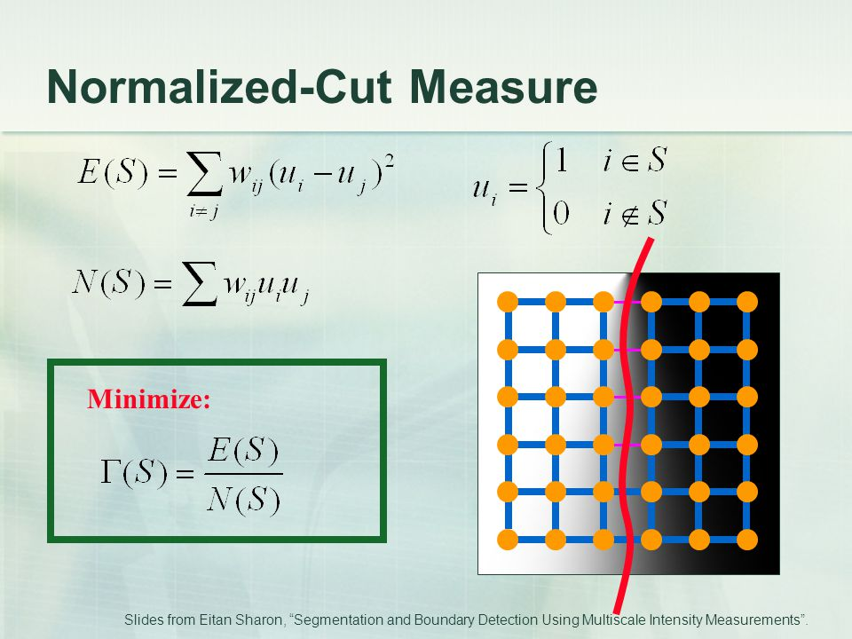 "Normalized-Cut Measure Minimize: Slides from Eitan Sharon, ""Segmentation and Boundary Detection Using Multiscale Intensity Measurements""."
