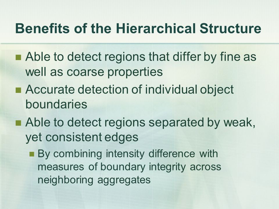 Benefits of the Hierarchical Structure Able to detect regions that differ by fine as well as coarse properties Accurate detection of individual object