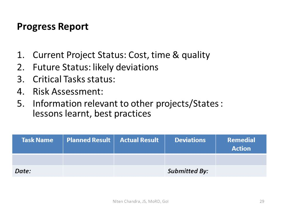 Progress Report 1.Current Project Status: Cost, time & quality 2.Future Status: likely deviations 3.Critical Tasks status: 4.Risk Assessment: 5.Information relevant to other projects/States : lessons learnt, best practices Task NamePlanned ResultActual ResultDeviationsRemedial Action Date:Submitted By: Niten Chandra, JS, MoRD, GoI29