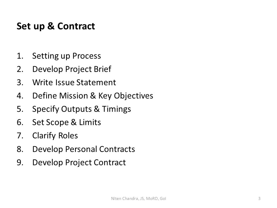 Set up & Contract 1.Setting up Process 2.Develop Project Brief 3.Write Issue Statement 4.Define Mission & Key Objectives 5.Specify Outputs & Timings 6