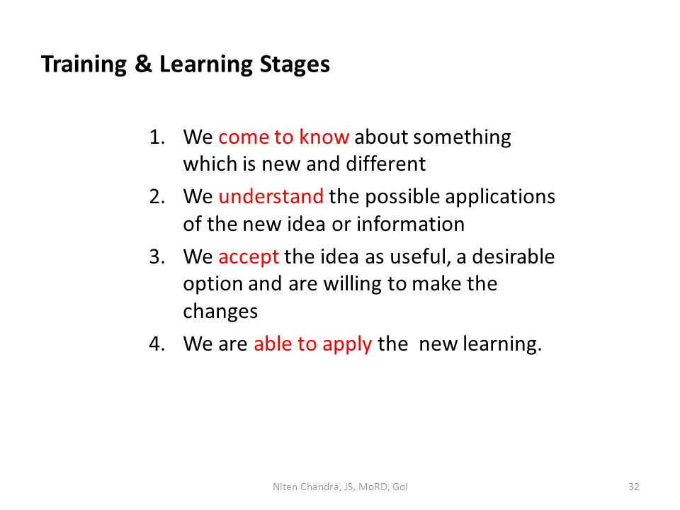 Training & Learning Stages 1.We come to know about something which is new and different 2.We understand the possible applications of the new idea or i