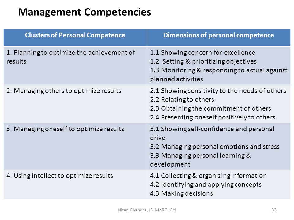 Management Competencies Clusters of Personal CompetenceDimensions of personal competence 1. Planning to optimize the achievement of results 1.1 Showin