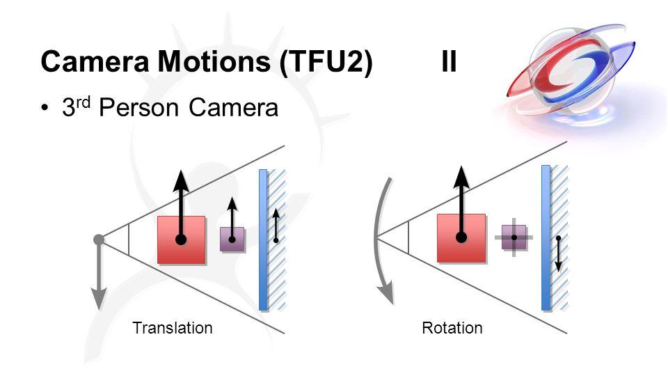 Camera Motions (TFU2)II 3 rd Person Camera TranslationRotation
