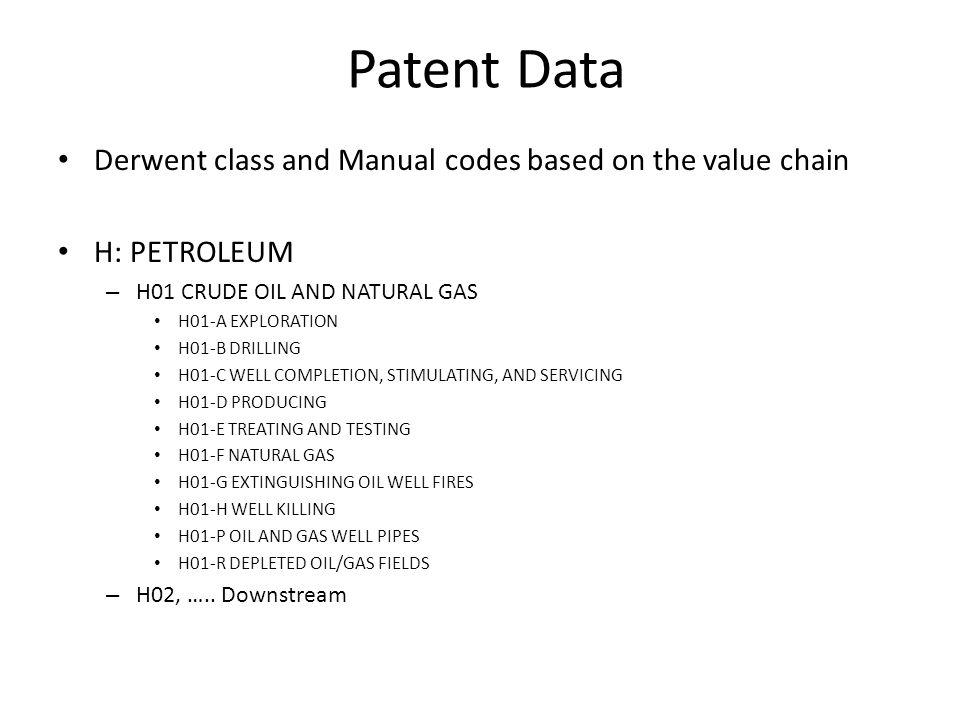 Patent Data Derwent class and Manual codes based on the value chain H: PETROLEUM – H01 CRUDE OIL AND NATURAL GAS H01-A EXPLORATION H01-B DRILLING H01-C WELL COMPLETION, STIMULATING, AND SERVICING H01-D PRODUCING H01-E TREATING AND TESTING H01-F NATURAL GAS H01-G EXTINGUISHING OIL WELL FIRES H01-H WELL KILLING H01-P OIL AND GAS WELL PIPES H01-R DEPLETED OIL/GAS FIELDS – H02, …..