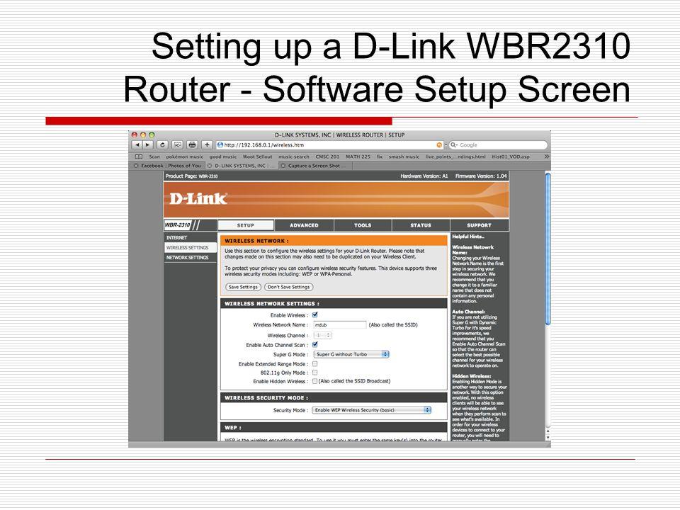 Setting up a D-Link WBR2310 Router - Software Setup Screen
