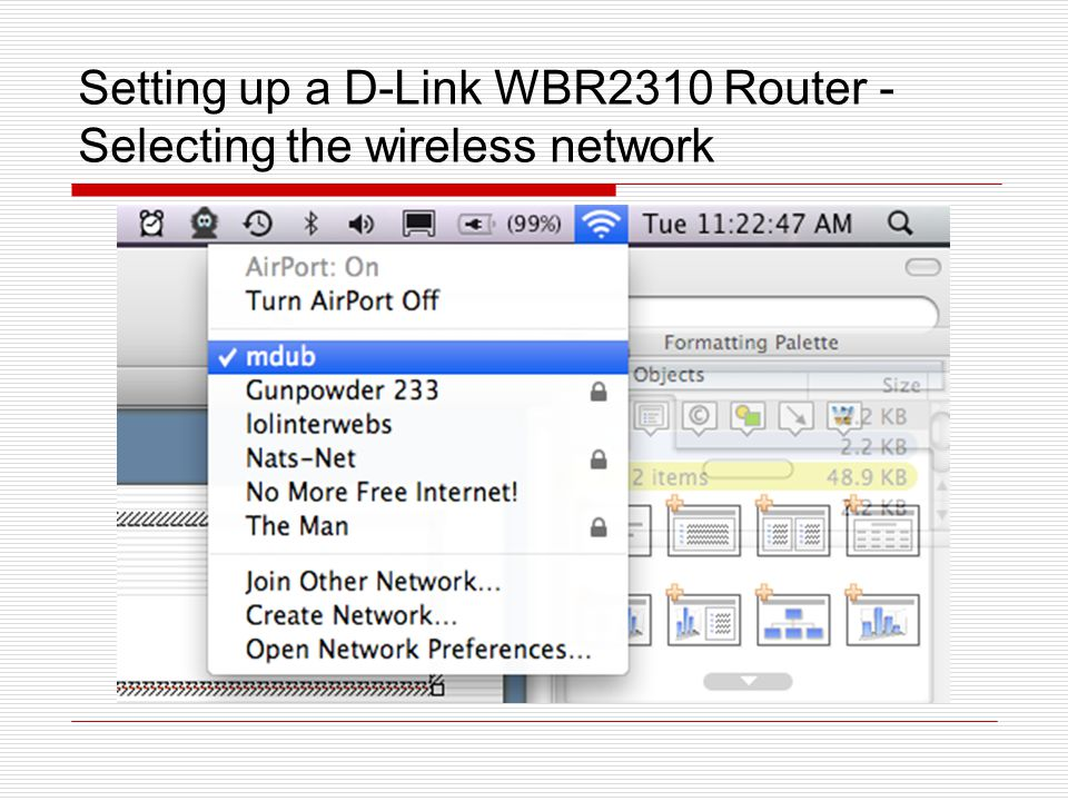 Setting up a D-Link WBR2310 Router - Selecting the wireless network
