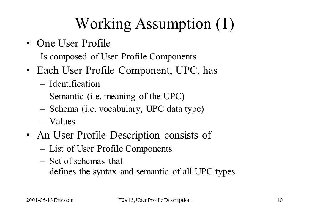 2001-05-13 EricssonT2#13, User Profile Description10 Working Assumption (1) One User Profile Is composed of User Profile Components Each User Profile Component, UPC, has –Identification –Semantic (i.e.