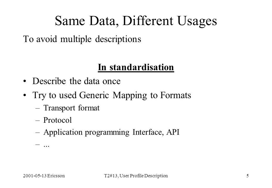 2001-05-13 EricssonT2#13, User Profile Description5 Same Data, Different Usages To avoid multiple descriptions In standardisation Describe the data on