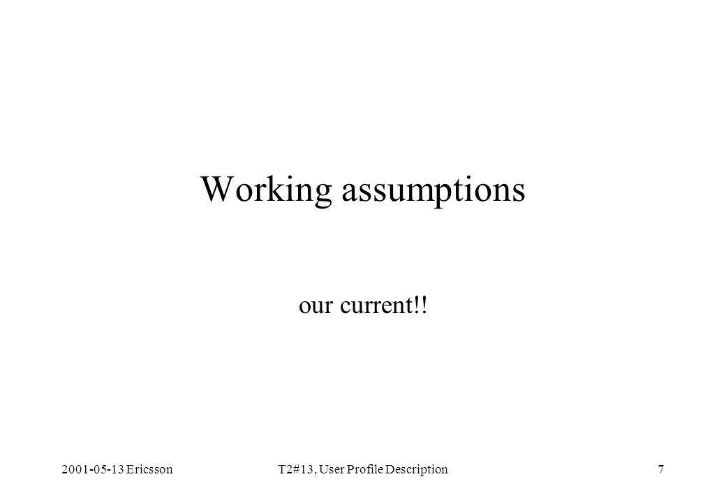 2001-05-13 EricssonT2#13, User Profile Description7 Working assumptions our current!!