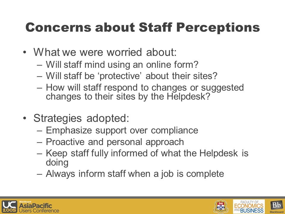 Your Logo Here Concerns about Staff Perceptions What we were worried about: –Will staff mind using an online form.