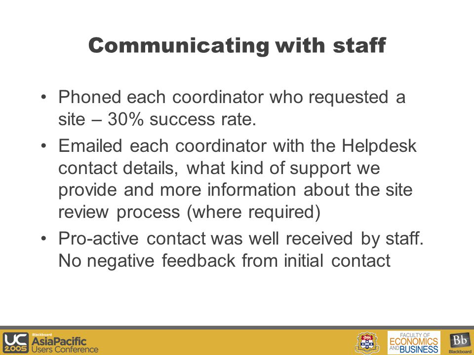 Your Logo Here Communicating with staff Phoned each coordinator who requested a site – 30% success rate.