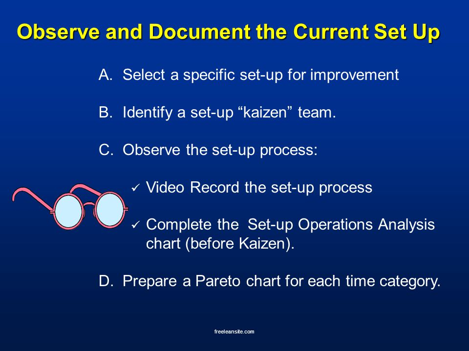 "freeleansite.com Observe and Document the Current Set Up A.Select a specific set-up for improvement B.Identify a set-up ""kaizen"" team. C.Observe the s"