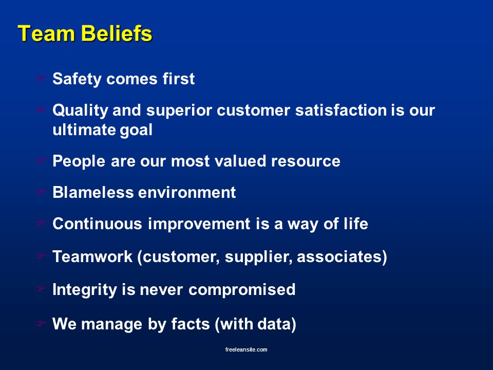 freeleansite.com Team Beliefs F Safety comes first F Quality and superior customer satisfaction is our ultimate goal F People are our most valued reso