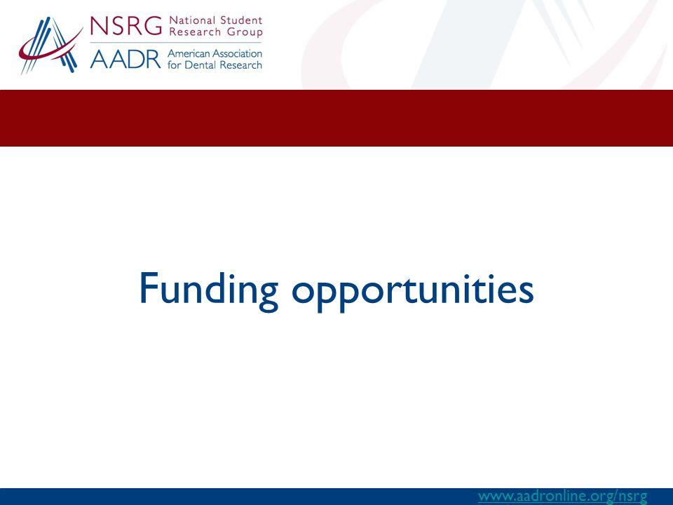Funding opportunities www.aadronline.org/nsrg