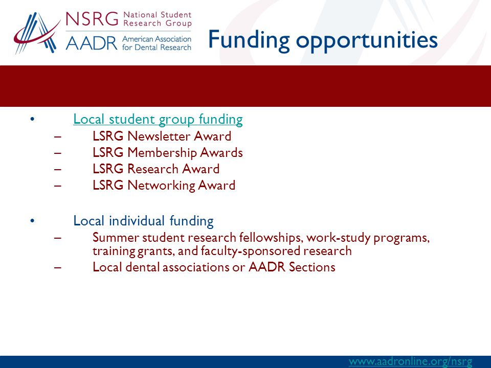 Funding opportunities Local student group funding –LSRG Newsletter Award –LSRG Membership Awards –LSRG Research Award –LSRG Networking Award Local individual funding –Summer student research fellowships, work-study programs, training grants, and faculty-sponsored research –Local dental associations or AADR Sections www.aadronline.org/nsrg