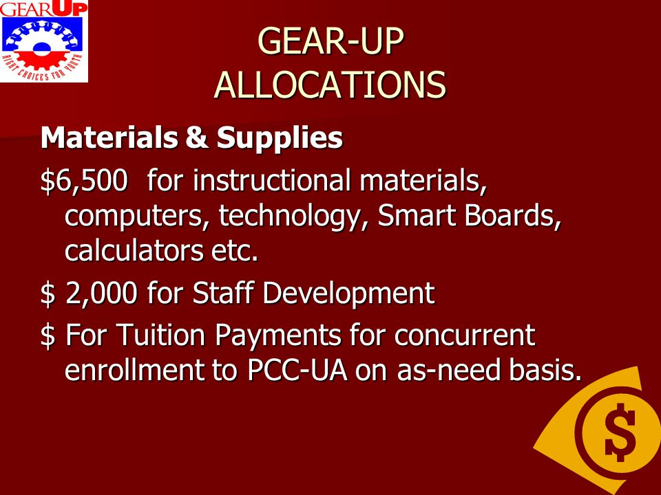 GEAR-UP ALLOCATIONS Materials & Supplies $6,500 for instructional materials, computers, technology, Smart Boards, calculators etc. $ 2,000 for Staff D