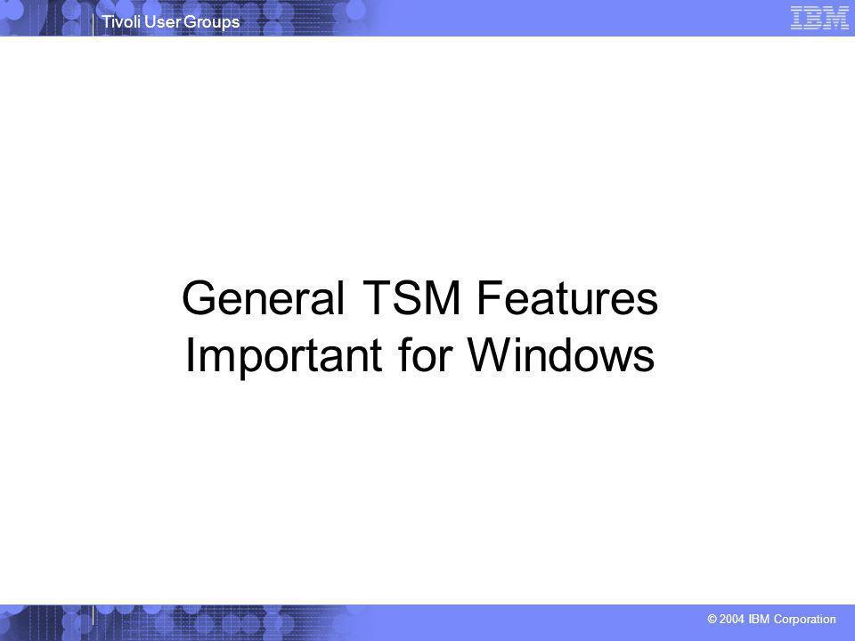 Tivoli User Groups © 2004 IBM Corporation General TSM Features Important for Windows