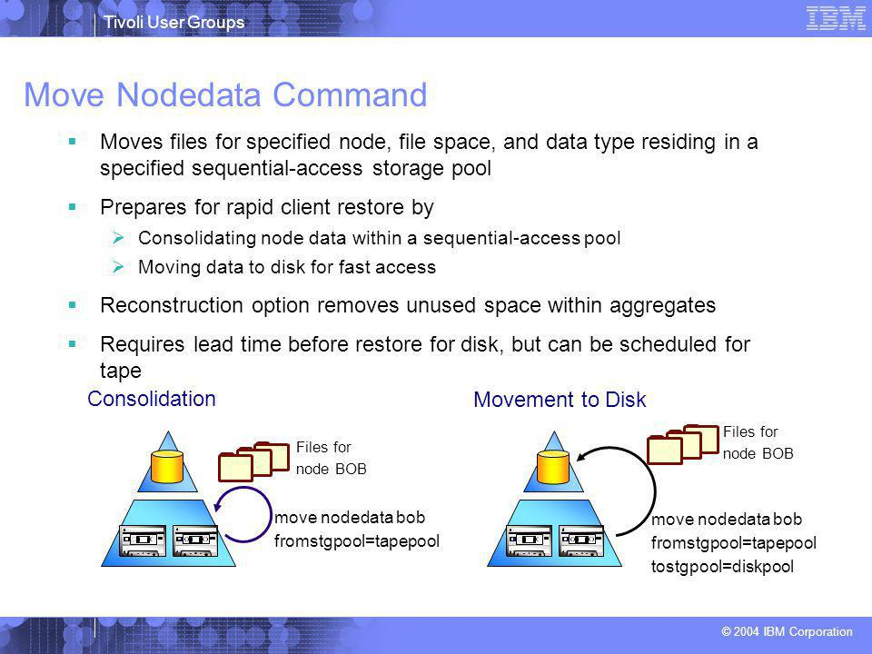 Tivoli User Groups © 2004 IBM Corporation Move Nodedata Command move nodedata bob fromstgpool=tapepool Consolidation Files for node BOB Movement to Di