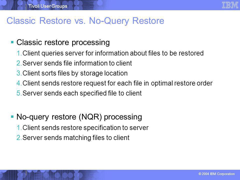 Tivoli User Groups © 2004 IBM Corporation Classic Restore vs. No-Query Restore  Classic restore processing 1.Client queries server for information ab