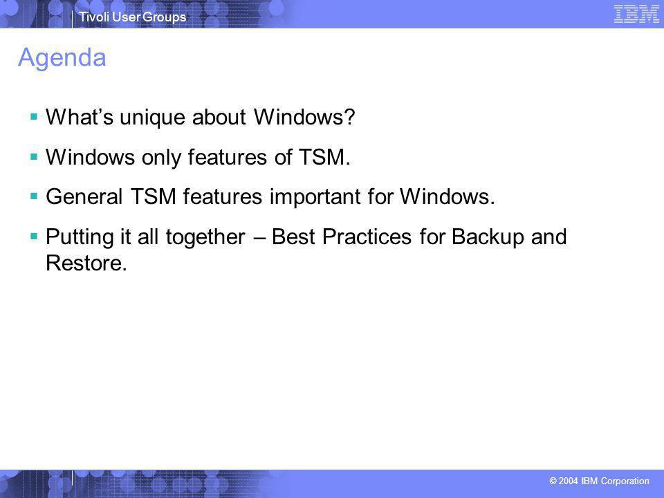 Tivoli User Groups © 2004 IBM Corporation Agenda  What's unique about Windows.