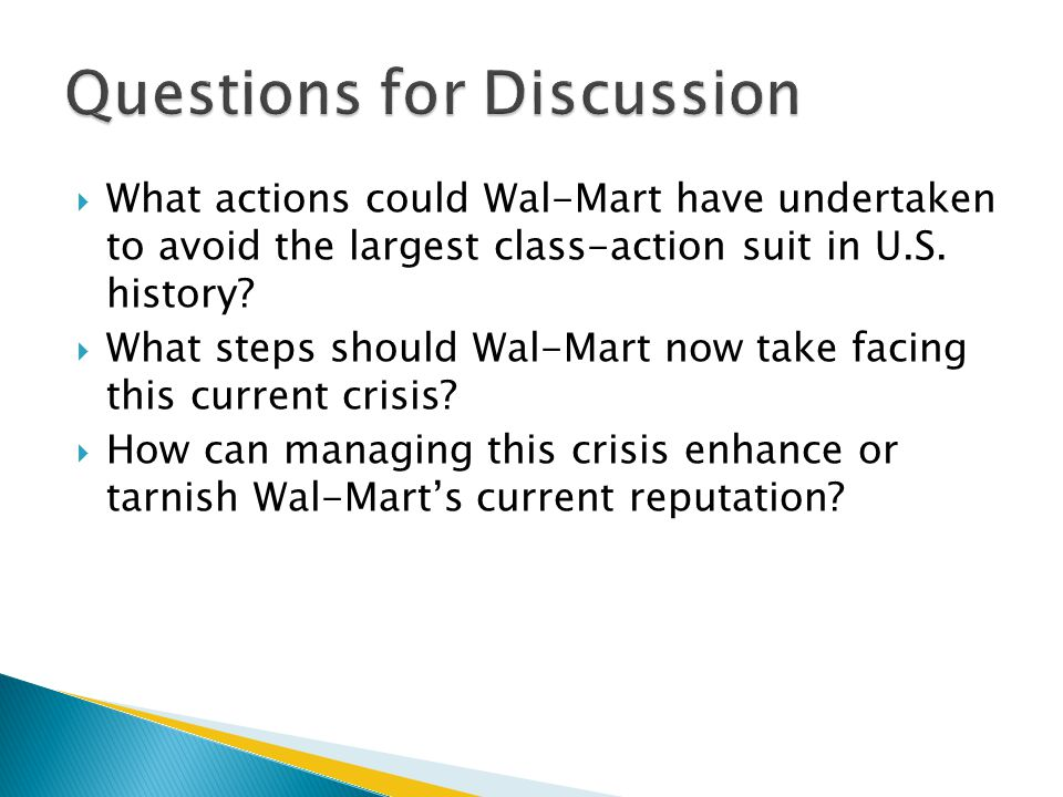  What actions could Wal-Mart have undertaken to avoid the largest class-action suit in U.S.