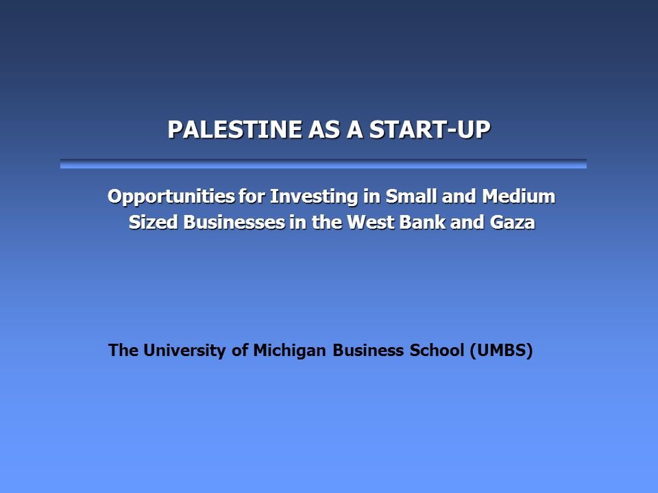 2 Introduction This presentation will highlight a new investment vehicle for the West Bank and Gaza (WBG) region as it emerges into a new state.