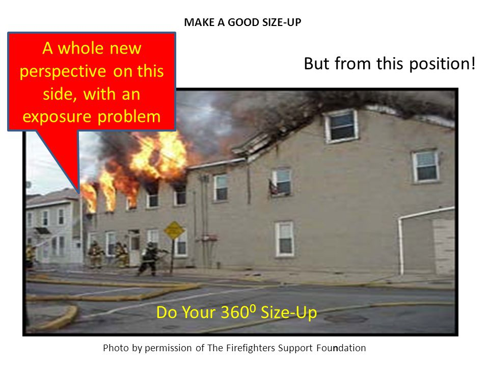 MAKE A GOOD SIZE-UP Photo by permission of The Firefighters Support Foundation But from this position! Do Your 360 0 Size-Up A whole new perspective o