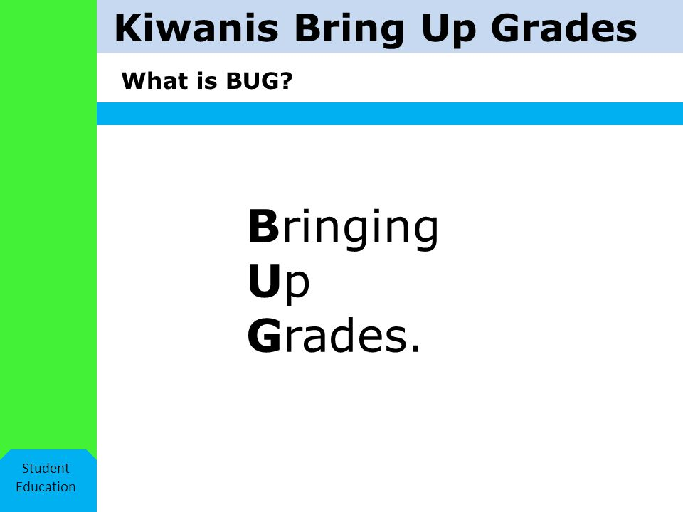 Kiwanis Bring Up Grades Helpful hints! Student Education What if I fail? I learn. Try again.