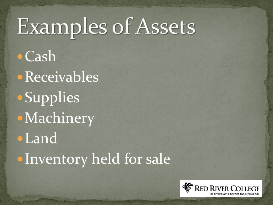Cash Receivables Supplies Machinery Land Inventory held for sale