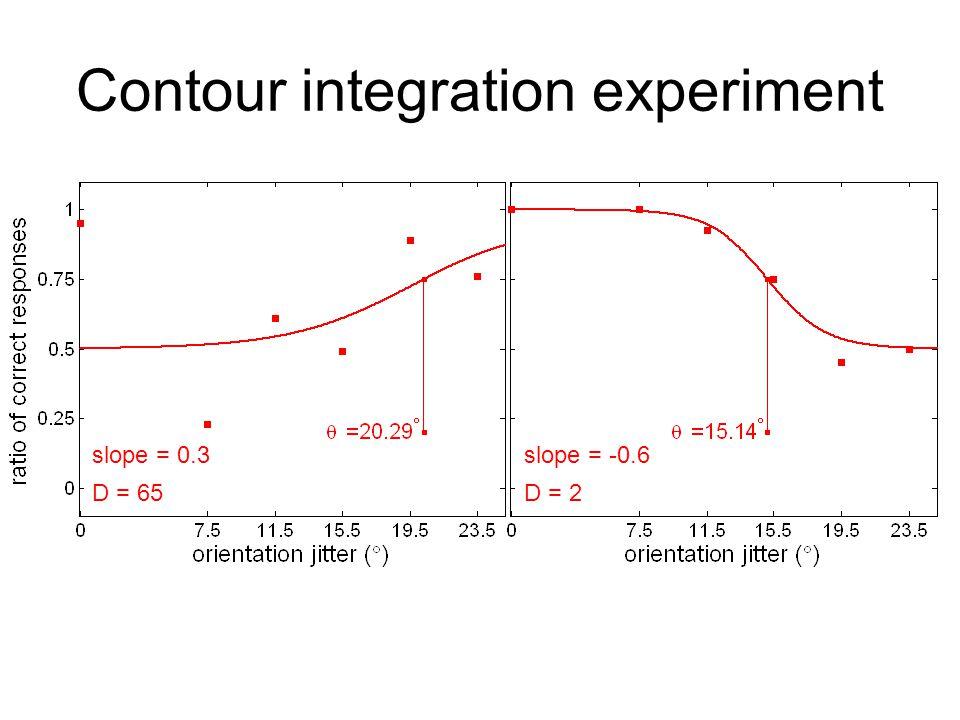 Contour integration experiment D = 2 slope = -0.6 D = 65 slope = 0.3