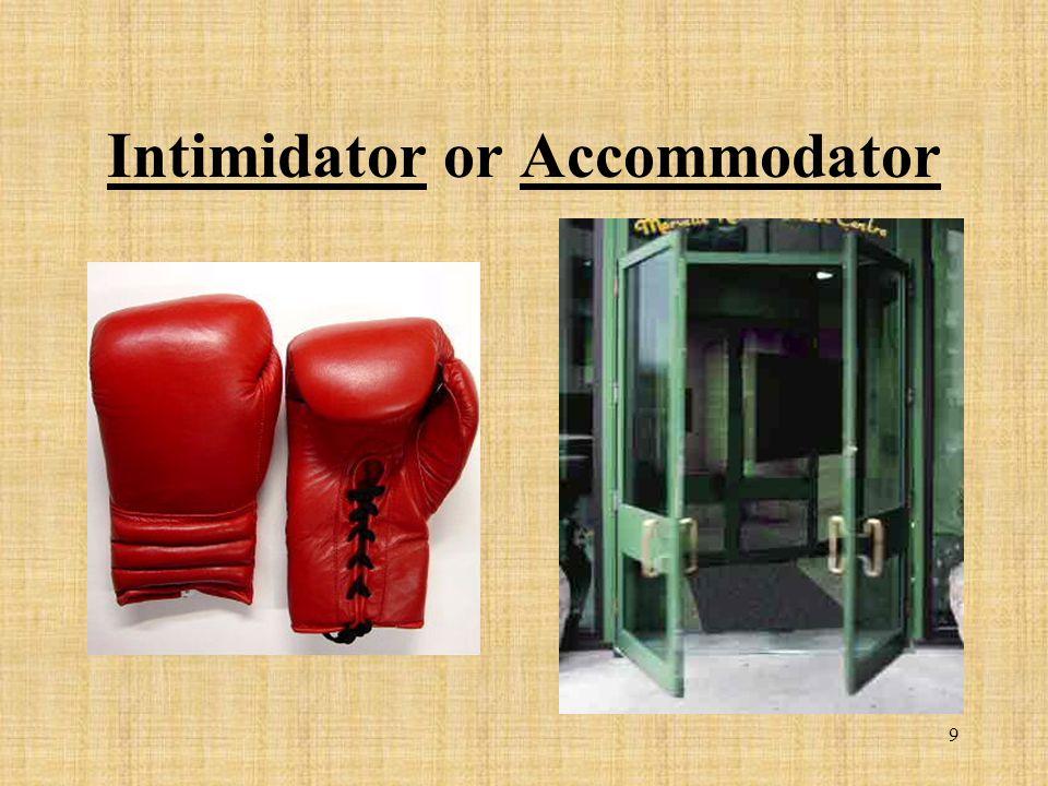 9 Intimidator or Accommodator
