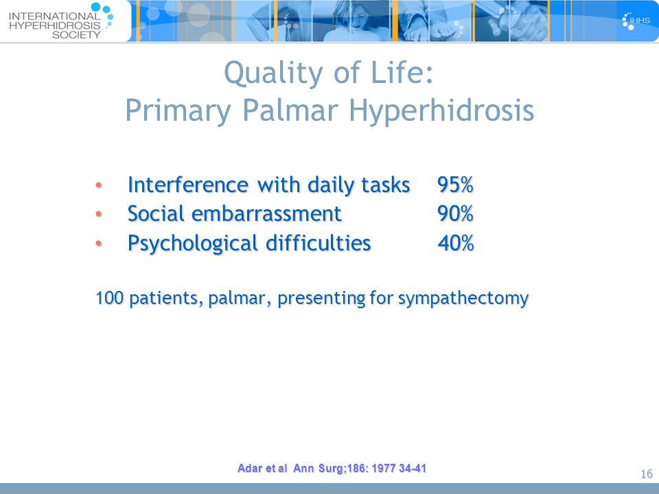 16 Quality of Life: Primary Palmar Hyperhidrosis Interference with daily tasks 95% Interference with daily tasks 95% Social embarrassment 90% Social e