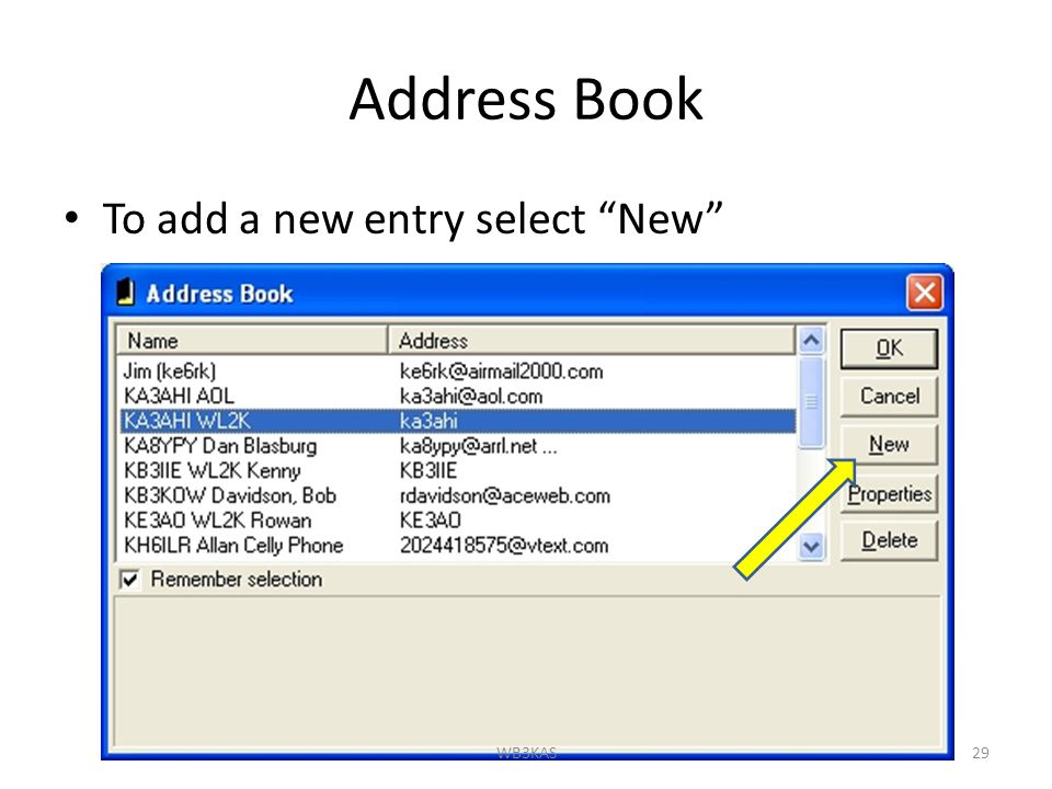Address Book To add a new entry select New 29WB3KAS