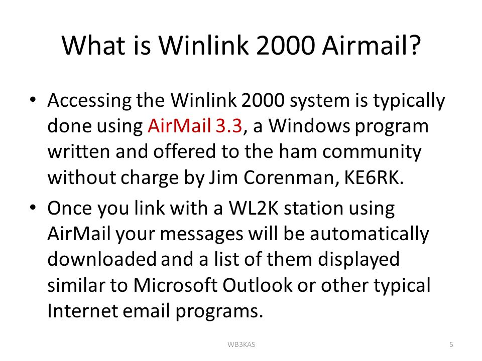 What is Winlink 2000 Airmail.