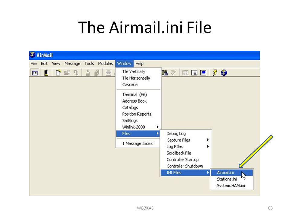 The Airmail.ini File WB3KAS68