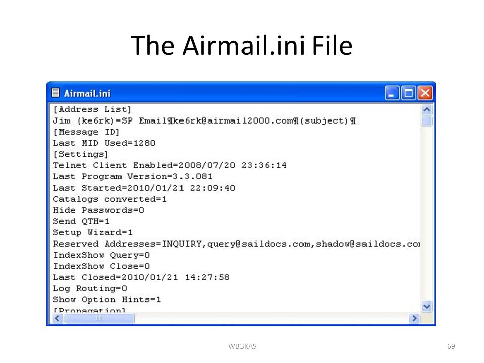 The Airmail.ini File WB3KAS69