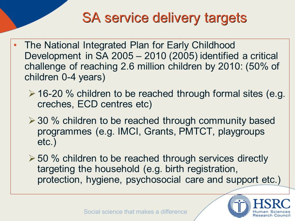 SA service delivery targets The National Integrated Plan for Early Childhood Development in SA 2005 – 2010 (2005) identified a critical challenge of reaching 2.6 million children by 2010: (50% of children 0-4 years)  16-20 % children to be reached through formal sites (e.g.