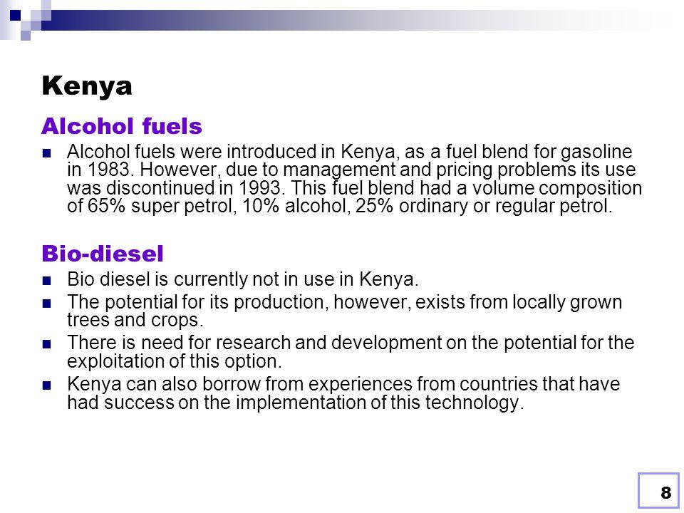 7 BIOFUELS IN EAST AFRICA Current Status East Africa's pre-dominant energy source is biomass.  Kenya: Biomass energy, up to 70% of Kenya's final ener