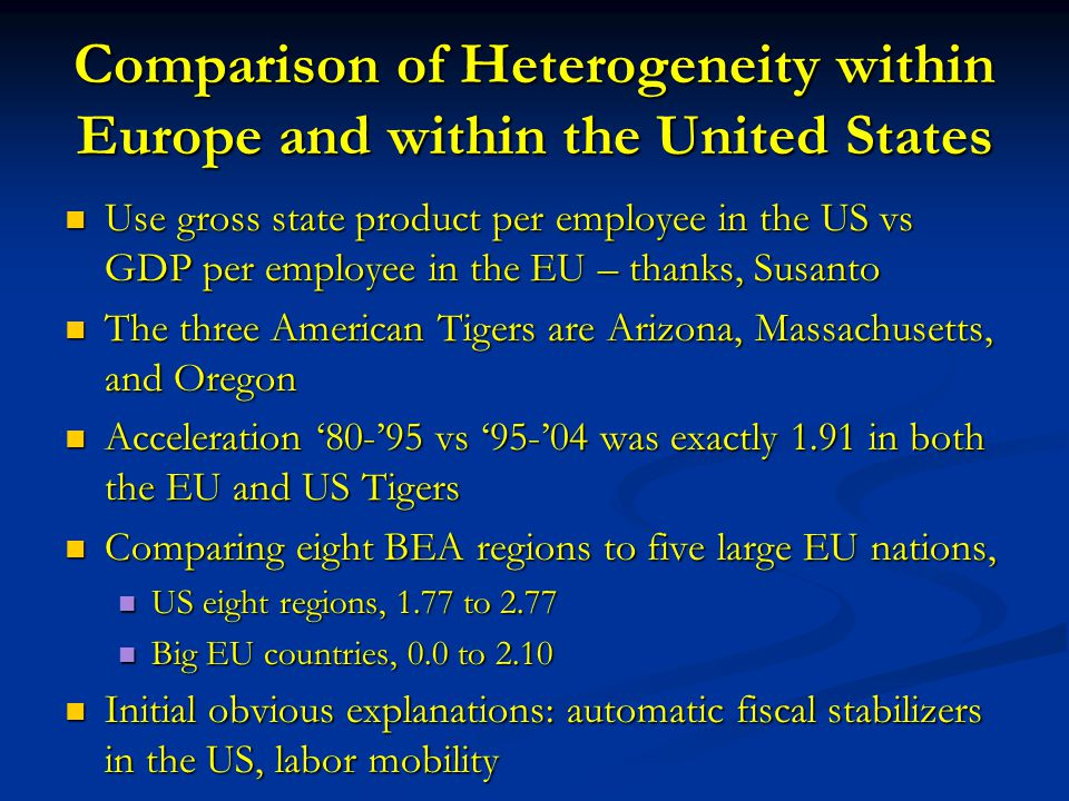 Comparison of Heterogeneity within Europe and within the United States Use gross state product per employee in the US vs GDP per employee in the EU – thanks, Susanto Use gross state product per employee in the US vs GDP per employee in the EU – thanks, Susanto The three American Tigers are Arizona, Massachusetts, and Oregon The three American Tigers are Arizona, Massachusetts, and Oregon Acceleration '80-'95 vs '95-'04 was exactly 1.91 in both the EU and US Tigers Acceleration '80-'95 vs '95-'04 was exactly 1.91 in both the EU and US Tigers Comparing eight BEA regions to five large EU nations, Comparing eight BEA regions to five large EU nations, US eight regions, 1.77 to 2.77 US eight regions, 1.77 to 2.77 Big EU countries, 0.0 to 2.10 Big EU countries, 0.0 to 2.10 Initial obvious explanations: automatic fiscal stabilizers in the US, labor mobility Initial obvious explanations: automatic fiscal stabilizers in the US, labor mobility