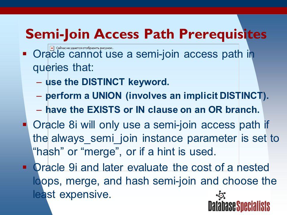 14 Semi-Join Access Path Prerequisites  Oracle cannot use a semi-join access path in queries that: –use the DISTINCT keyword. –perform a UNION (invol