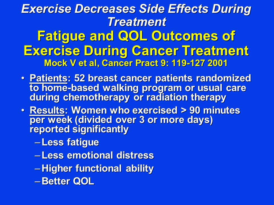 Exercise Decreases Side Effects During Treatment Fatigue and QOL Outcomes of Exercise During Cancer Treatment Mock V et al, Cancer Pract 9: 119-127 20