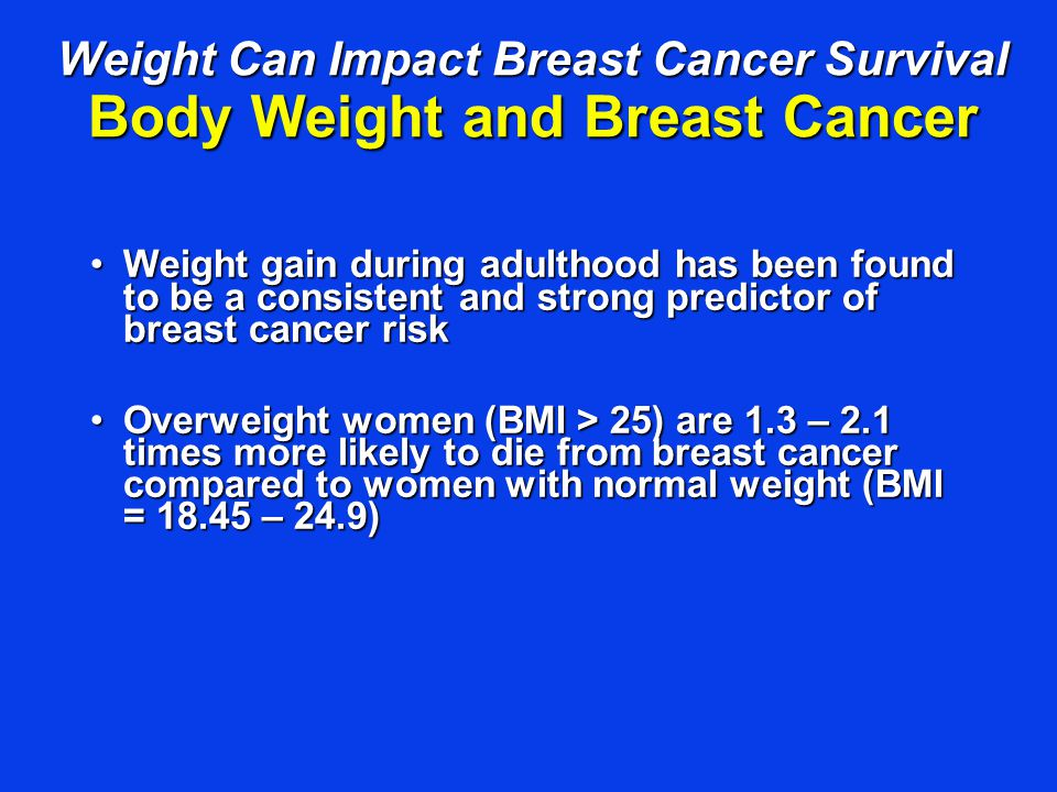 Weight gain during adulthood has been found to be a consistent and strong predictor of breast cancer riskWeight gain during adulthood has been found t