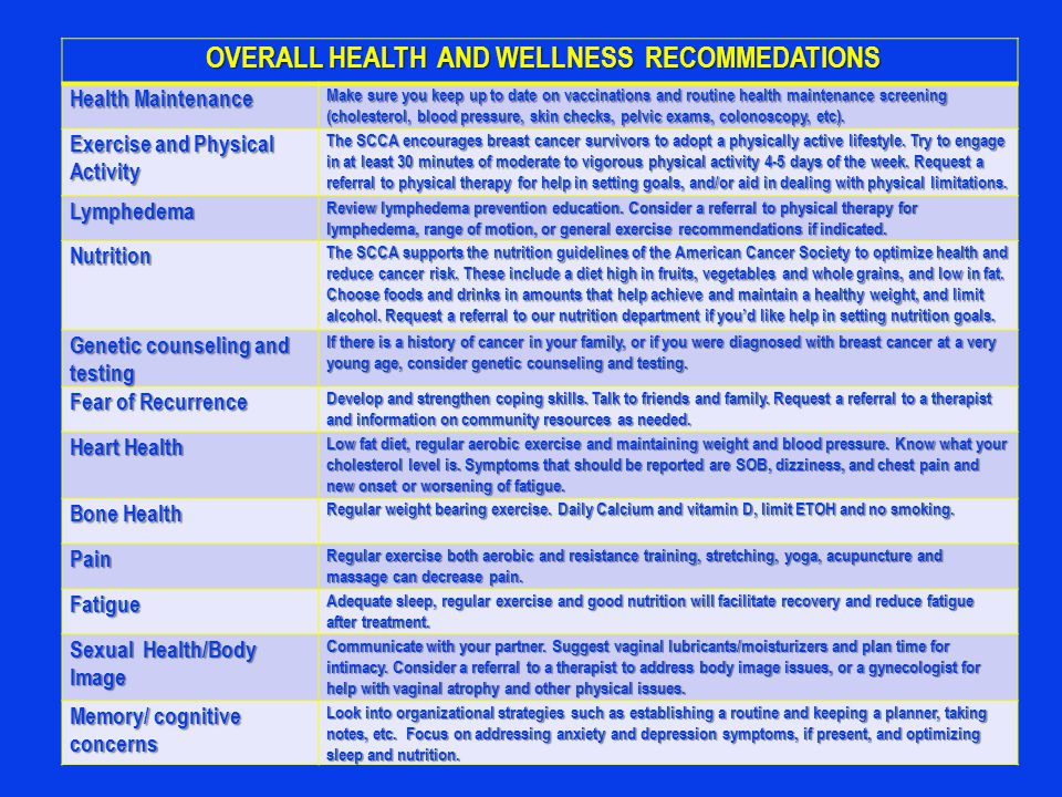OVERALL HEALTH AND WELLNESS RECOMMEDATIONS OVERALL HEALTH AND WELLNESS RECOMMEDATIONS Health Maintenance Make sure you keep up to date on vaccinations