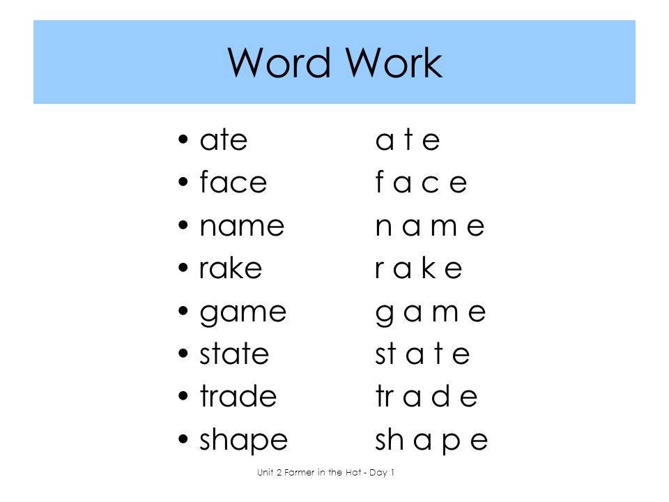 Word Work atea t e facef a c e namen a m e raker a k e gameg a m e statest a t e tradetr a d e shapesh a p e Unit 2 Farmer in the Hat - Day 1