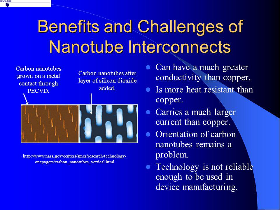 Benefits and Challenges of Nanotube Interconnects Can have a much greater conductivity than copper.