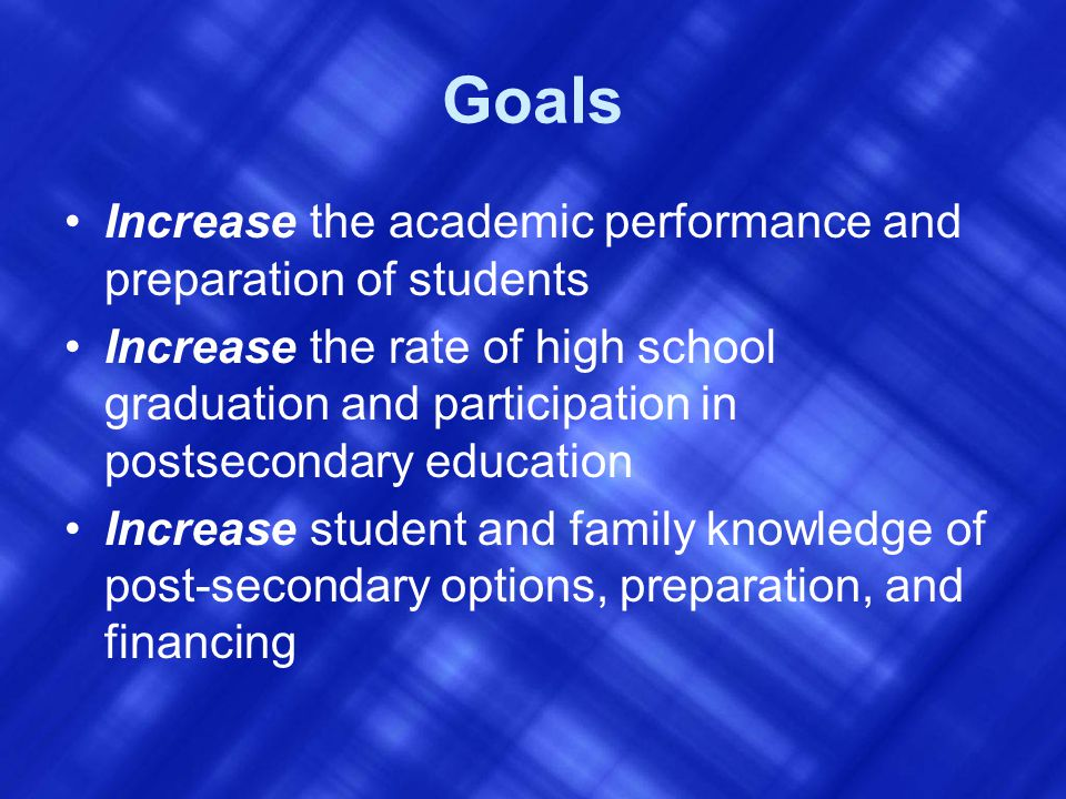 Goals Increase the academic performance and preparation of students Increase the rate of high school graduation and participation in postsecondary education Increase student and family knowledge of post-secondary options, preparation, and financing