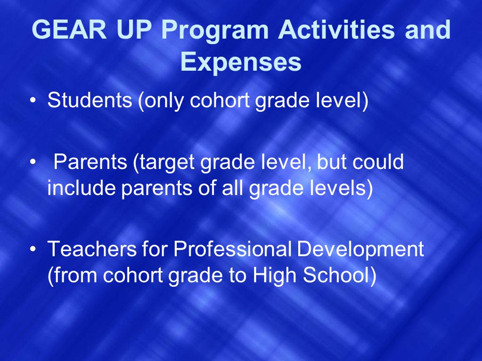 GEAR UP Program Activities and Expenses Students (only cohort grade level) Parents (target grade level, but could include parents of all grade levels) Teachers for Professional Development (from cohort grade to High School)