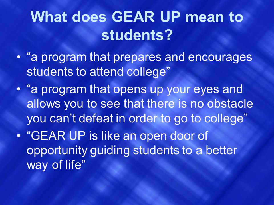 What does GEAR UP mean to students.